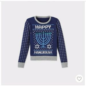 Girls Happy Hanukkah Pullover Sweater
